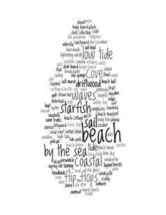 Beach+Decor+Print++Words+About+The+Beach+Collage+by+cjprints,+$5.99