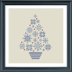 cross stitch christmas tree snowflakes blue/grey and by Happinesst