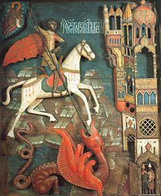 saint georges et le dragon Medieval Art, Renaissance Art, Hl Georg, Patron Saint Of England, Saint George And The Dragon, Russian Icons, Byzantine Art, Orthodox Icons, Sculpture