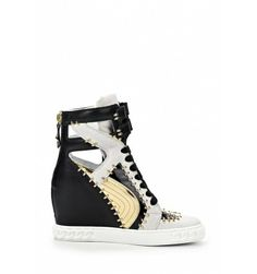 CASADEI SNEAKERS BLACK & WHITE WITH GOLDEN STUDS