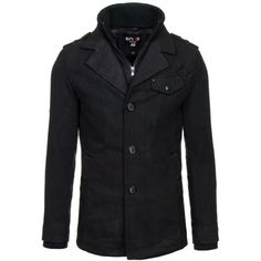 Pánsky kabát čiernej farby na zips s gombíkmi - fashionday.eu Leather Jacket, Zip, Jackets, Fashion, Studded Leather Jacket, Down Jackets, Moda, Leather Jackets, Fashion Styles
