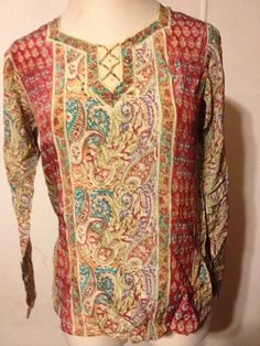 NWT HELINA by VIRA Women Tunic Top Blouse Silk India Print Multi-Color Paisley L #HelinabyVira #Tunic #Casual #Helina #Vira #Paisley #India #Indian #Silk #Tunic #LongSleeves #LongSleeved #LongSleeve #Women #womans #womens #woman #large