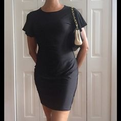 🆕 BELL SLEEVE SHORT BLACK SHINY DRESS 🆕 Bell, sleeve, short, black, shiny dress. Easy to dress up or down. Very lightweight and comfortable. 100% polyester, size, S, 4/6 Reasonable offers/bundles welcome, no trades. 5% off 2 items and 10% off 3 of more items, just ask. My environment is clean/organized/pet/smoke free. Please make any inquires, all sales are final on PM. Thank you for shopping my boutique. DARLING Dresses