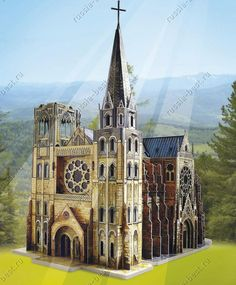 Gothic cathedral card model kit