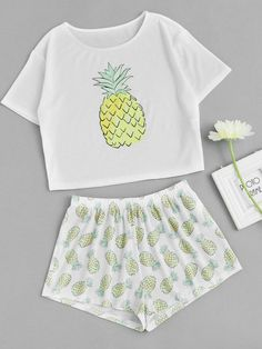 Shop Pineapple Print Tee And Shorts Co-Ord online. - S h e - I n s i d eShop Pineapple Print Tee And Shorts Co-Ord online. SheIn offers Pineapple Print Tee And Shorts Co-Ord & more to fit your fashionable needs. Cute Lazy Outfits, Teenage Outfits, Teen Fashion Outfits, Outfits For Teens, Trendy Outfits, Fashion Clothes, Cool Outfits, Women's Fashion, Cute Pajama Sets