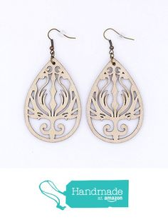 Beige Wood Statement Earrings Natural Tan Teardrop Flame Filigree Antique Bronze Featherweight from Moon Rose Design https://www.amazon.com/dp/B01IAM3Q2S/ref=hnd_sw_r_pi_dp_nFfHxb77JCECB #handmadeatamazon