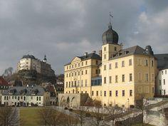 Greiz Schlösser Unteres und Oberes Schloss oberhalb der Weißen Elster