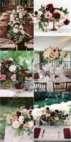blush and burgundy wedding reception centerpiece ideas #weddingdecor #weddingtable #weddingreception #weddingcenterpieces #weddingideas
