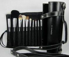 MAC 16 Pcs Makeup Brushes Gift Set Make up Cosmetic Brush Set Kit w/ Leather Case - For Eye Shadow, Blush, Concealer, Etc.