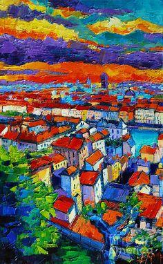 Lyon View 1 Painting by Mona Edulesco
