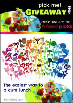 The easiest way to have a fun & cute lunch GIVEAWAY - over 100 pcs of bento food picks, cupcake rings and sauce (mayo) dipping cups