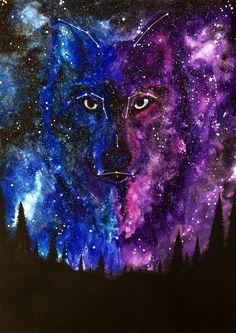 Watercolor Galaxy painting by me:  #watercolor #watercolorgalaxy #wolf Insta: hand.of.erebus