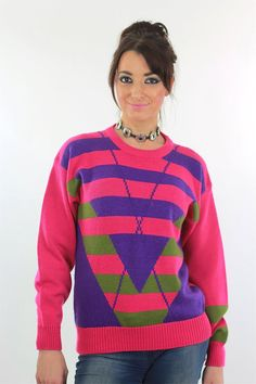 Pink Sweater top 80s Striped blouse Purple Green abstract Sweater 1980s  Vintage Chevron Ribbed Mediu d1ab20d8d