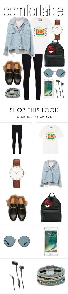 """comfortable"" by madedinorog ❤ liked on Polyvore featuring 7 For All Mankind, Gucci, Daniel Wellington, Chiara Ferragni, Ray-Ban, Griffin, JBL and Design Lab"