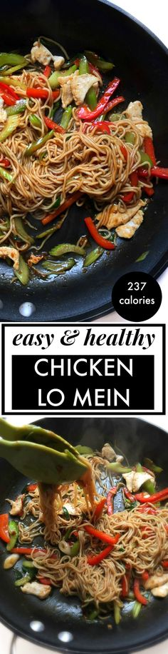 Easy Healthy Chicken Lo Mein Recipe! This delicious chicken stirfry is a healthy and low calorie version of Chinese lo mein for only 237 calories per serving! Low carb and huge portion too via @andiemitchell