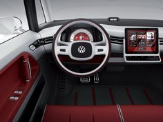 Car Interior Volkswagen Bulli concept red white black simple basic essential modern steering wheel 2