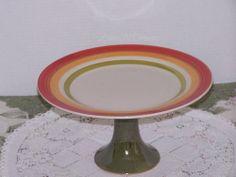 Multi Fall Color Cake Plate Green Pedestal Stand. $30.00, via Etsy.  http://www.etsy.com/listing/112729503/multi-fall-color-cake-plate-green#