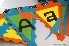 Chic and festive party banner Dinosaur Boy by coupleofbubbles, $26.00 I LIKE THESE DINO SILHOUETTES
