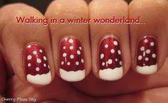 christmas snow nail-art. Tested: http://pintester.com/2013/12/cocknails-candy-cane-martini-and-winter-wonderland-nails/