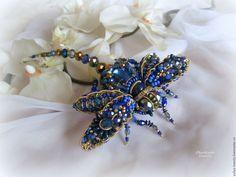 """Купить """"Space dragonfly"""" Брошь - синий, золотой, брошь, брошьстрекоза, синяястрекоза, стрекоза, пайетки франция"""
