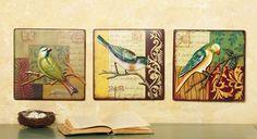 Sculpted Metal Bird Wall Art - Set of 3
