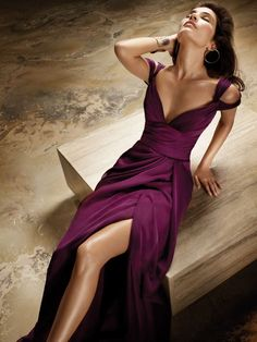 plum chiffon a-line high street fashion bridesmaid dress with v neck and back
