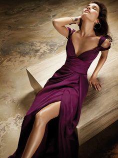 plum chiffon a-line high street fashion bridesmaid dress with v neck and back