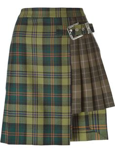 checked pleated mini skirt