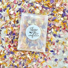Our frosted packets and stickers are biodegradable and compostable. These packets include rainbow colours. Petals include yellows, blue, white, lilac, pinks and orange. Each packet includes of confetti which is a handful and suitable for one per person. Biodegradable Confetti, Biodegradable Products, Rainbow Frosting, Wedding Schedule, Wedding Confetti, Rose Petals, Rainbow Colors, Real Weddings, Stickers