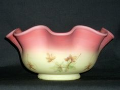 Nine inch Fenton Burmese Glass Bowl with leaves