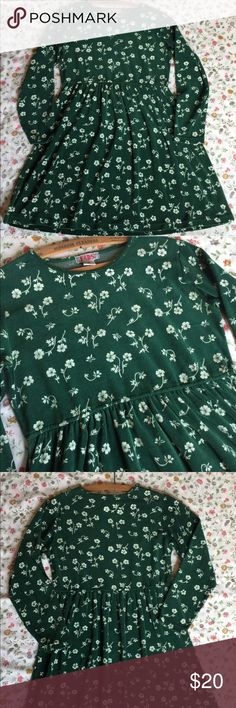 """Vintage 90's Babydoll Dress Floral Green Small Authentic 90's item! The tag on this says small petite, but it is really not super small. Please see measurements. The material is like a velour, cotton polyester blend. Nice condition!   Measurements:  Waist: 33""""  Length: 33.5"""" fads Dresses"""