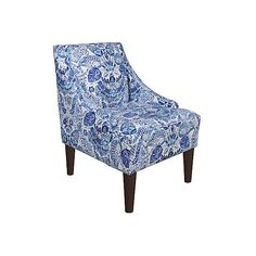Quinn Swoop-Arm Chair Blue Paisley Accent & Occasional Chairs (500 AUD) ❤ liked on Polyvore featuring home, furniture, chairs, accent chairs, swoop arm chair, blue accent chair, blue occasional chair, patterned chairs and hand made furniture