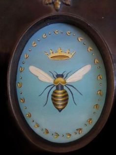 Queen Bee Original Oil Painting Miniature in Ebonized Frame I Love Bees, Birds And The Bees, Bee Painting, Bee Images, Buzz Bee, Bee Art, Bee Happy, Bees Knees, Queen Bees