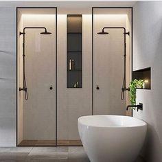 Double shower ideas in this modern and minimalist bathroom design Bad Inspiration, Bathroom Inspiration, Modern Bathroom Design, Bathroom Interior, Bathroom Designs, Minimalist Bathroom Design, Interior Livingroom, Bath Design, Modern Design