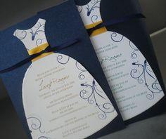 Bridal Shower Invitations Blue and Gold Dress Bridal by PunkyPosh, $2.50