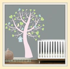 Wall Decal Pink Tree With 5 Bird Wall Sticker Nursery Home Decoration Wall Art Size: 135*125 43.04$ USD