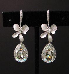 Swarovski silver shade teardrop foiled crystal by DesignByKara, my wedding earrings