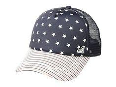 New ROXY Truckin 4th Of July American Flag Womens Snapback Trucker Hat Cap