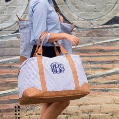 Seersucker Monogrammed Weekender Bag | Gentry California | $52 | Click link to shop: http://www.gentrycalifornia.com/collections/monogrammed-bags-accessories/products/seersucker-weekender-bag-monogrammed-travel-bag-large-overnight-bag-hospital-bag-with-monogram