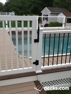 Above ground pool deck deckorators cxt railing with black for Above ground pool decks nj