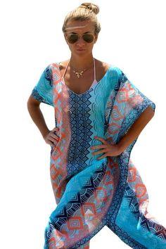 Pretty Colorful Kimono-Style Pullover Beach Maxi Cover Up One Size