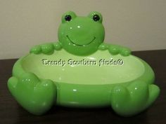NEW Pottery Barn Kids Green FROG Bathroom Accessories Soap Dish