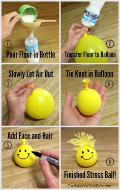 Got Stress? Make Your Own Stress Ball! - - Got Stress? Make Your Own Stress Ball! DIY: Kids A fun way for kids to get rid of the grumpies – help them make a homemade stress ball for squeezing away those frustrations! Easy Crafts For Kids, Diy Crafts To Sell, Diy For Kids, Fun Projects For Kids, Fun Crafts To Do, Kids To Kids, Simple Crafts, Homemade Crafts, Diy Crafts Useful