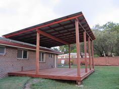 Image result for sloping lean to style pergola for outdoor sitting area