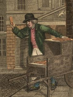 "This man cried ""Hot Spiced Gingerbread!"" as he sold seasonal treats to passersby in Oxford Street. Shopping on the move: the street traders of Georgian London - Westminster City Archives"