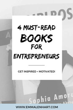 Looking for a book to shake up the way you look at your biz as an entrepreneur? I'm sharing my favorite four books that do just that. Click through this pin to read the full post and see the books that changed my entrepreneurial mindset!