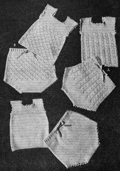 Baby singlets and panties in plain stocking stitch or lace patterning