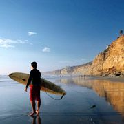 San Diego beaches are very welcoming of surfers. Catch a wave or just some rays. Treat yourself to a surfing lesson. There are several San Diego surfing schools nearby to test your skills.