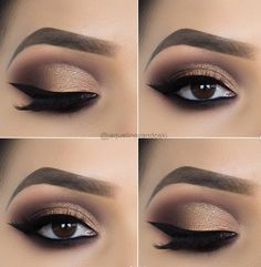 15 Alluring Golden Smokey Eye Makeup Ideas - Make Up 2019 Makeup Eye Looks, Eye Makeup Steps, Cat Eye Makeup, Beautiful Eye Makeup, Smokey Eye Makeup, Cute Makeup, Skin Makeup, Eyeshadow Makeup, Makeup Brushes