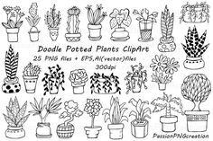Doodle potted plants clipart - Illustrations